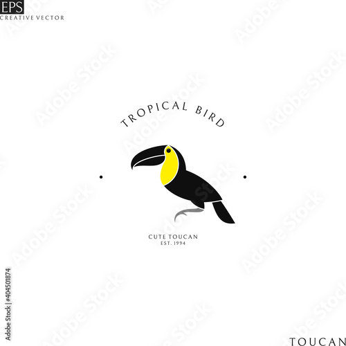 Fototapeta premium Tropical bird. Logo template. Isolated toucan on white background