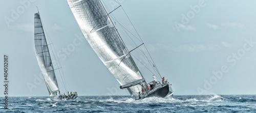 Canvas Print Sailing yacht regatta. Yachting. Sailing