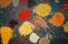 High Angle View Of Spices