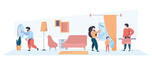 Family Cleaning Home Interior. Mother Father And Kids Washing Room Children Helping Parents Garish Vector Person. Housework Family, Domestic Cleaning Illustration