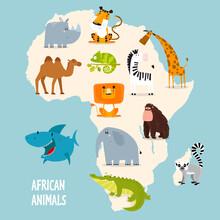 Print. Map Of Africa With Animals. Card For Children. Wild Animals. Set Of Vector Cartoon Animals. Crocodile, Elephant, Lion, Rhino, Giraffe, Gorilla, Shark, Lemur, Turtle, Zabra, Camel