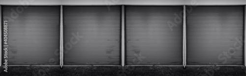 Steel shutter door of warehouse, storage or storefront for metal door background and textured Poster Mural XXL