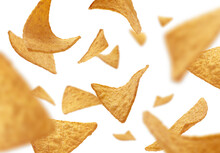 Corn Chips Of Triangular Shape Levitate On A White Background