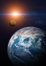 Terrestrial Planets: Earth, Venus And Mercury. Elements Of This Image Furnished By NASA.