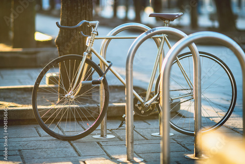 Canvas Print Bicycle Parked On Footpath