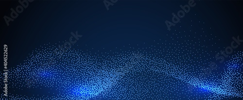 Modern digital background. Particles glowing wave, technology or science banner. Light dots sound flowing vector illustration. Glow data futuristic dots, abstraction effect surface wave