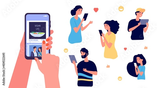 Share info. Social media concept, people with smartphones likes photos. Modern communication vector illustration. Mobile social phone share page