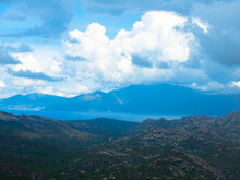 Panoramic Aerial View Of The Corsican Coast With Near The Capital Ajaccio. Corsica, France. Tourism And Vacations Concept.