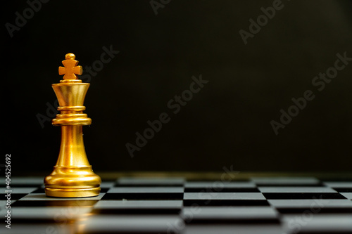 Gold king chess piece stand on black background with copy space (Concept for leadership, unique)