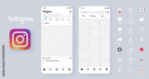 Screen interface in social media instagram application. Photo frame design app post template. Social media mobile app page template. Carousel post. Minimal design. Vector