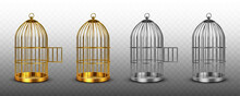Bird Cages, Vintage Empty Birdcages Of Golden And Silver Colors, Metal Jails With Open And Closed Doors Isolated On Transparent Background. Steel And Gold Traps, Realistic 3d Vector Illustration, Set