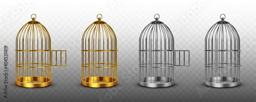 Fotografie, Tablou Bird cages, vintage empty birdcages of golden and silver colors, metal jails with open and closed doors isolated on transparent background