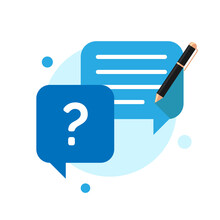 What Would You Ask, Submit Criticism And Suggestions, Review, Type Or Write Question Button Concept Illustration Flat Design Vector Eps10