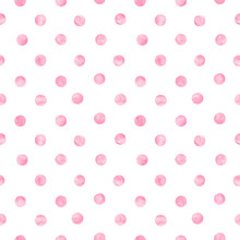 Polka Dot Pink Watercolor Seamless Pattern. Abstract Watercolour Color Circles On White Background