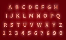 Broadway Retro Typography Font. 3d Light Bulb Alphabet