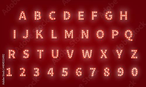 Photo Broadway retro typography font. 3d light bulb alphabet