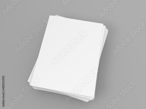 Obraz A stack of A4 papers on a gray background. 3d render illustration. - fototapety do salonu