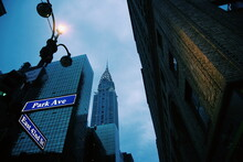 Low Angle View Of Chrysler Buildings Against Sky In Manhattan Nyc