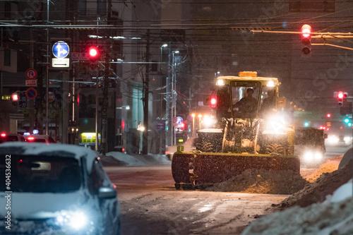 Papel de parede 夜の除雪風景 / 北海道札幌市