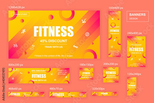 Collection web banners different sizes for mobile and social networks, poster, shopping ads, marketing material. Bundle banners for product promotion, fitness club, GYM, energetic fit training.