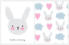 Hello Bunny. Lovely Nursery Art And Seamless Vector Pattern With Hand Drawn Clouds, Bunny And Hearts Isolated On A White Background. Cute Illustration Ideal For Kids Room Decoration, Wall Art, Card.