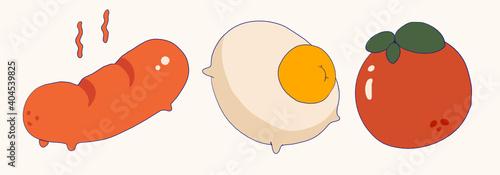 Fototapeta Egg tomato sausage obraz