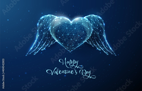 Leinwand Poster AbAbstract blue heart with wings. Happy Valentine's day card
