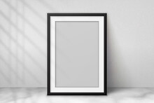 Mockup Black Frame Photo On Wall. Mock Up Artwork Picture Framed. Vertical Boarder With Shadow. Empty Board Photoframe A4. Modern Stylish 3d Border. Design Prints Poster, Blank, Painting Image. Vector