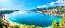 Panorama Of Bay And Resort Town Villefranche Sur Mer. French Riviera, Cote D'Azur, France