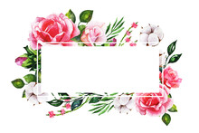 Wreaths, Floral Frames, Watercolor Flowers Roses, Illustration Hand Painted. Isolated On White For Greeting Card Design