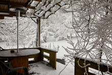 View From The Garden Summer House As A Heavy Snowfall Sweeps Across The Yorkshire Smallholding At 900ft