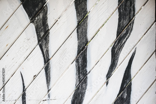 Fototapety, obrazy: Close-up Of Painting On Wooden Wall