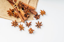 Cinnamon Stick And Star Anise Spice On White Background Closeup.Cinnamon And Anise On A White Background. Spices For Making A Hot Drink Mulled Wine.Copy Space.Free Space.