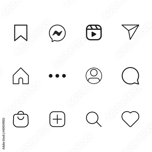 Set of popular icons isolated on white background. Social media symbol modern, simple, vector, icon for website design, mobile app, ui. Vector Illustration