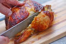 Cutting Into A Rotisserie Chicken