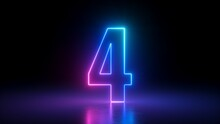 3d Render, Number Four Glowing In The Dark, Pink Blue Neon Light