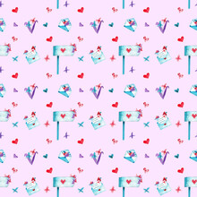 Valentine Love Pattern Background. Watercolor Hand Drawn Elements: Love Letters, Mail Post, Flowers, Leaves And Hearts. Cute Pink And Blue Wallpaper For Romantic Couples. Scrapbook Clipart.