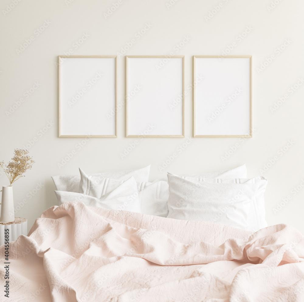 Fototapeta Mockup frames in minimalist modern bedroom interior background, Scandinavian style, 3D render