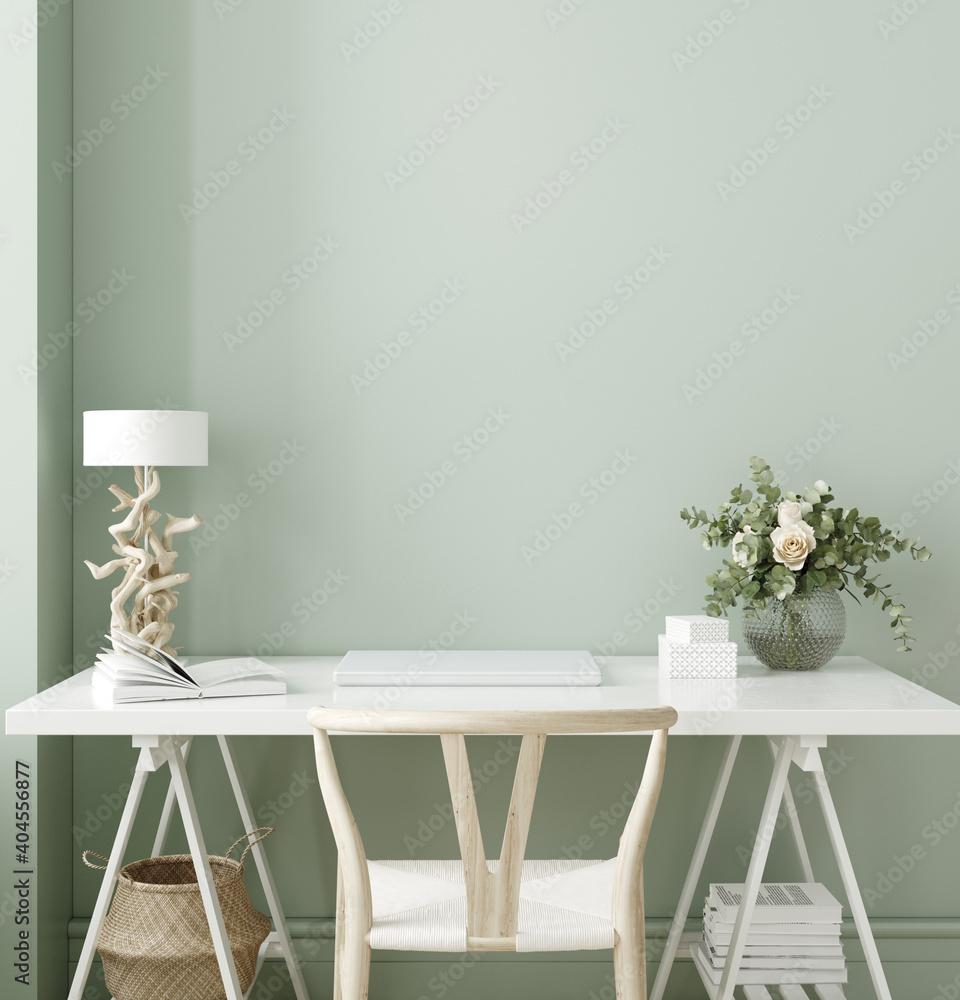 Fototapeta Modern workplace close up, wall mockup, 3d render