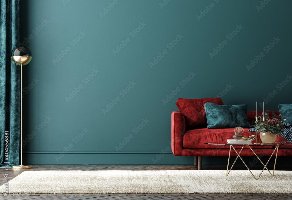 Fototapeta Home interior with red sofa, table and decor in green living room, 3d render
