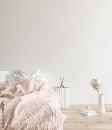 Canvas Print Minimalist modern bedroom interior background, Scandinavian style, 3D render