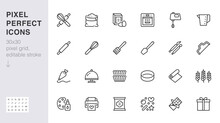 Bakery Line Icon Set. Baking Tool - Confectionery Bag, Dough Roll, Cake Decorating, Pastry Ingredient Minimal Vector Illustration. Simple Outline Sign Of Cooking. 30x30 Pixel Perfect, Editable Stroke
