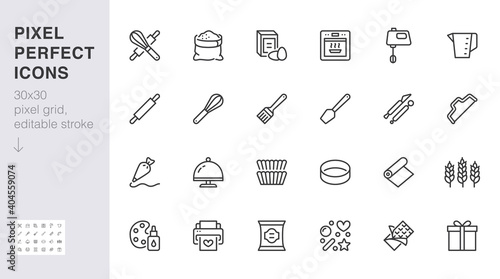 Fotomural Bakery line icon set