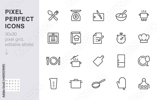 Fototapeta Cooking line icon set. Kitchen tools - pan, pot, dinner utensil, cookbook, chef hat minimal vector illustration. Simple outline sign of food recipe instruction. 30x30 Pixel Perfect, Editable Stroke obraz