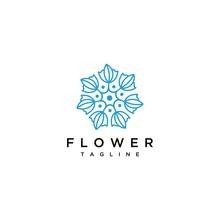 Flower Logo Drawn With Minimal Lines