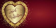 Carte Ou Bandeau Sur Une Joyeuse Saint Valentin En Bordeaux Dans Un Coeur Couleur Or Sur Un Fond Bordeaux Avec Des Paillettes Couleur Or