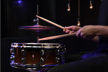 Drummer Playing Snare Drum With Sticks Close Up.