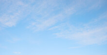 Sky Background With Light Fluffy Cirrostratus Clouds