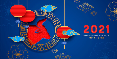 Chinese New Year ox 2021 blue red paper cut card