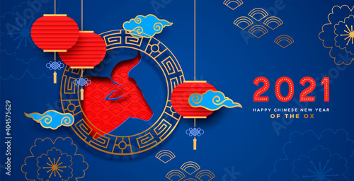 Leinwand Poster Chinese New Year ox 2021 blue red paper cut card